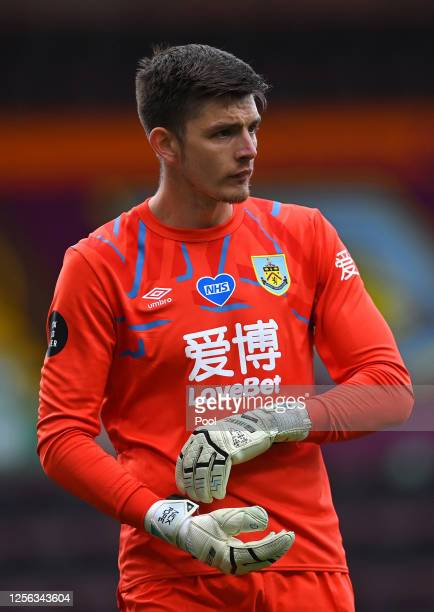 Nick Pope of Burnley looks on during the Premier League match between Burnley FC and Wolverhampton Wanderers at Turf Moor on July 15 2020 in Burnley...
