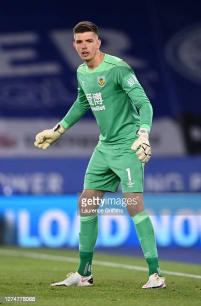 Nick Pope of Burnley looks on during the Premier League match between Leicester City and Burnley at The King Power Stadium on September 20 2020 in...