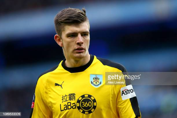 Nick Pope of Burnley looks on prior to the FA Cup Fourth Round match between Manchester City and Burnley at Etihad Stadium on January 26 2019 in...