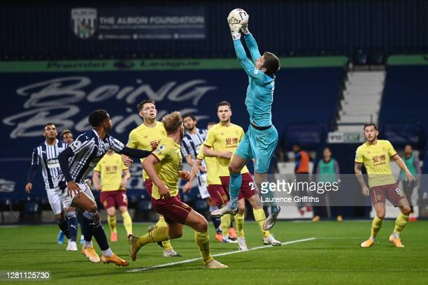 Nick Pope of Burnley makes a save during the Premier League match between West Bromwich Albion and Burnley at The Hawthorns on October 19 2020 in...