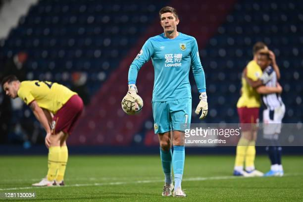 Nick Pope of Burnley reacts at fulltime after the Premier League match between West Bromwich Albion and Burnley at The Hawthorns on October 19 2020...