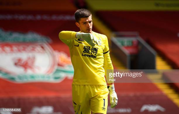 Nick Pope of Burnley reacts during the Premier League match between Liverpool FC and Burnley FC at Anfield on July 11 2020 in Liverpool England...