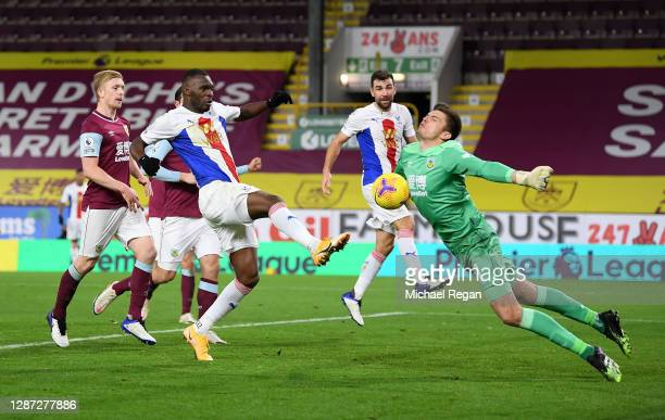 Nick Pope of Burnley saves from Christian Benteke of Crystal Palace during the Premier League match between Burnley and Crystal Palace at Turf Moor...