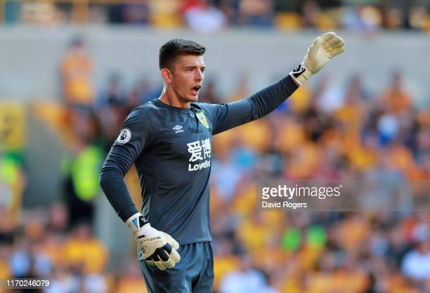 Nick Pope of Burnley shouts instructions during the Premier League match between Wolverhampton Wanderers and Burnley FC at Molineux on August 25 2019...
