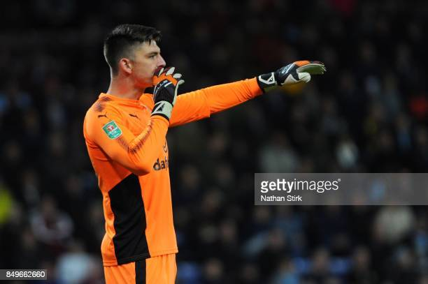 Nick Pope of Burnley shouts to his team mates during the Carabao Cup Third Round match between Burnley and Leeds United at Turf Moor on September 19...