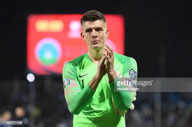Nick Pope of England acknowledges the fans after the UEFA Euro 2020 Qualifier between Kosovo and England at the Pristina City Stadium on November 17...