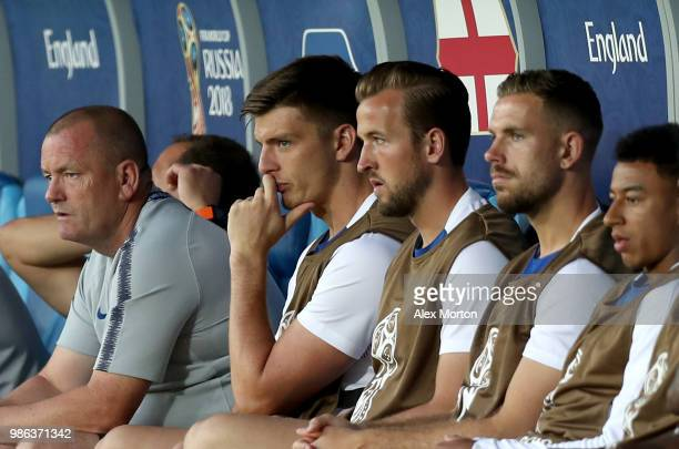 Nick Pope of England and Harry Kane of England look on from the bench during the 2018 FIFA World Cup Russia group G match between England and Belgium...