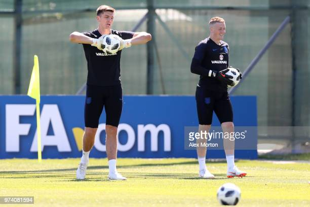 Nick Pope of England and Jordan Pickford of England train during the England media access at Spartak Zelenogorsk Stadium ahead of the FIFA World Cup...