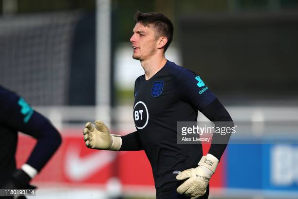 Nick Pope of England during a training session at St Georges Park on October 10 2019 in BurtonuponTrent England