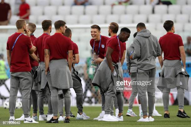 Nick Pope of England laughs during a pitch inspection prior to the 2018 FIFA World Cup Russia group G match between Tunisia and England at Volgograd...