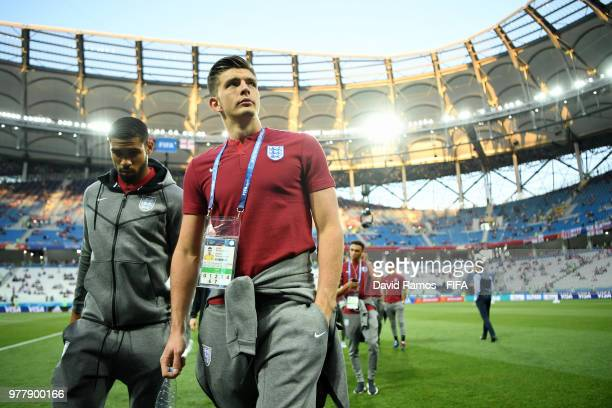 Nick Pope of England looks on during a pitch inspection prior to the 2018 FIFA World Cup Russia group G match between Tunisia and England at...