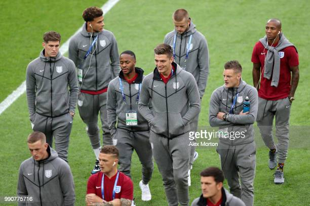 Nick Pope of England looks on during a pitch inspection prior to the 2018 FIFA World Cup Russia Round of 16 match between Colombia and England at...