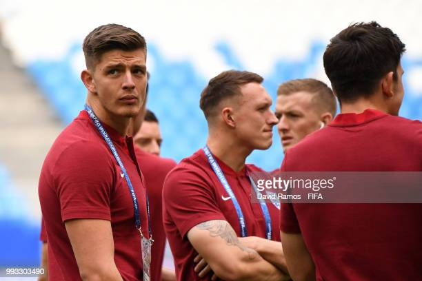 Nick Pope of England looks on during pitch inspection prior to the 2018 FIFA World Cup Russia Quarter Final match between Sweden and England at...