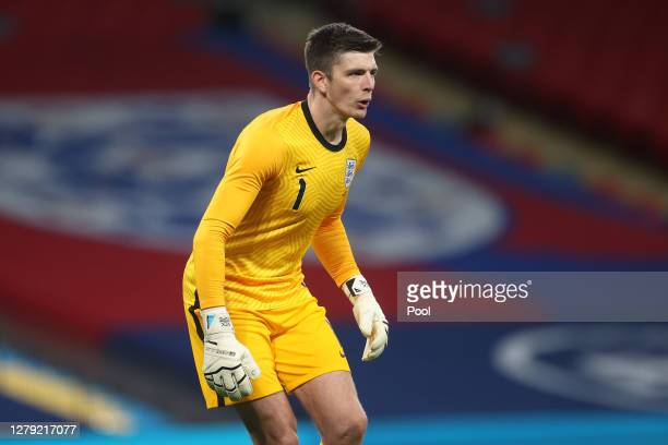 Nick Pope of England looks on during the international friendly match between England and Wales at Wembley Stadium on October 08 2020 in London...