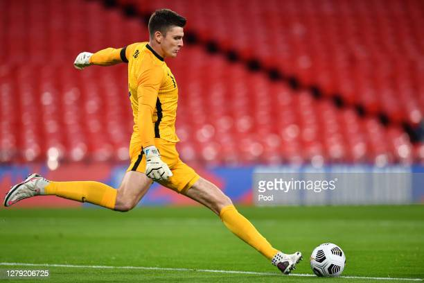 Nick Pope of England takes a goal kick during the international friendly match between England and Wales at Wembley Stadium on October 08 2020 in...