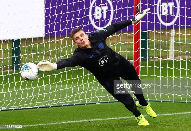 Nick Pope of England takes part during an England training session at St Mary's Stadium on September 09 2019 in Southampton England