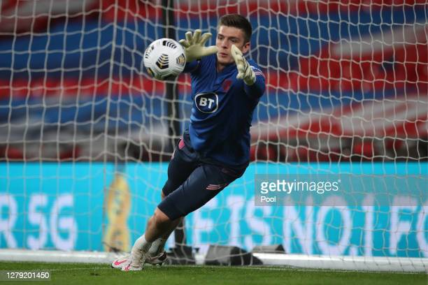 Nick Pope of England warms up during the international friendly match between England and Wales at Wembley Stadium on October 08 2020 in London...