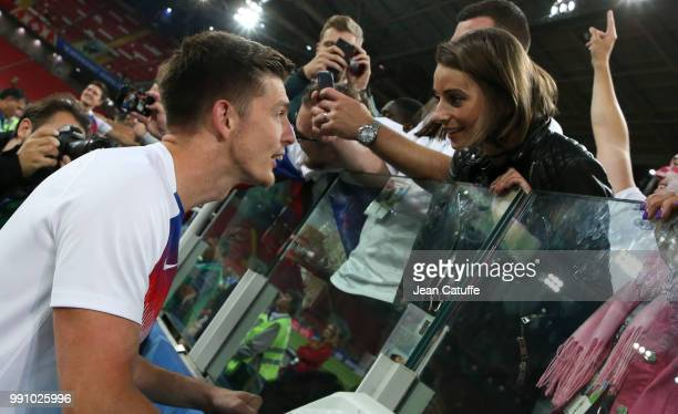 Nick Pope of England with his girlfriend Shannon Horlock following the 2018 FIFA World Cup Russia Round of 16 match between Colombia and England at...