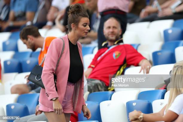 Nick Pope of England's girlfriend Shannon Horlock looks on prior to the 2018 FIFA World Cup Russia group G match between England and Belgium at...