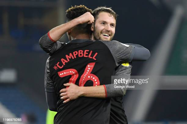 Nick Powell of Stoke City celebrates after scoring his sides second goal with Tyrese Campbell of Stoke City during the Sky Bet Championship match...