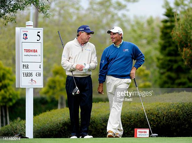 Nick Price and Fred Couples chat on the fifth tee box during the first round of the Toshiba Classic at Newport Beach Country Club on March 16 2012 in...