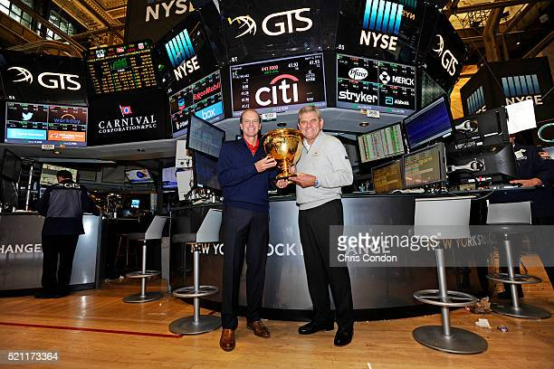 Nick Price and Steve Stricker visit the New York Stock Exchange as captains of the International and US Teams respectively for the 2017 event in...