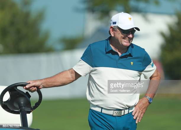 Nick Price of Zimbabwe and Captain of the International Team during a practice round prior to the start of the Presidents Cup at Liberty National...