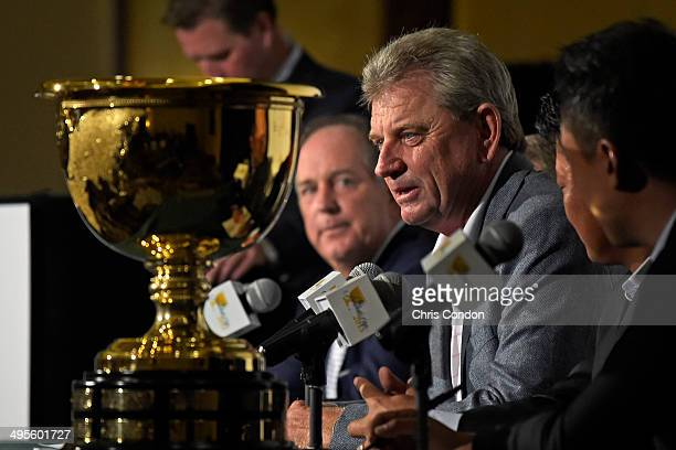 Nick Price of Zimbabwe Captain of the 2015 Presidents Cup International Team during a press conference at the Big Cedar Lodge Legends of Golf...