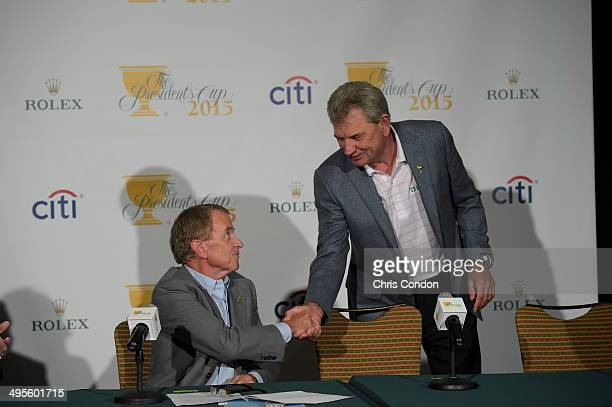 Nick Price of Zimbabwe Captain of the 2015 Presidents Cup International Team by PGA TOUR Commissioner Tim Finchem during a press conference at the...