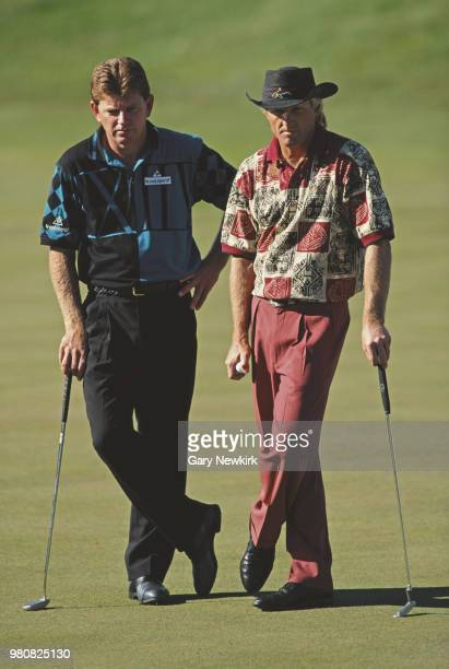 Nick Price of Zimbabwe Greg Norman of Australia during the Franklin Funds Shark Shootout golf tournament on 20 November 1994 at the Sherwood Country...