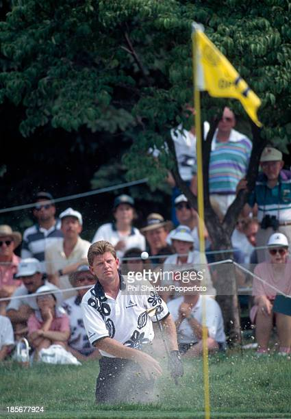 Nick Price of Zimbabwe hitting out of a bunker during the US Open Golf Championship held at the Oakmont Country Club Pennsylvania circa June 1994