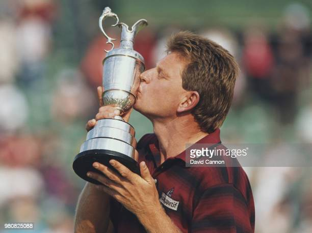 Nick Price of Zimbabwe kisses the Claret Jug after winning the 113th British Open on on 17 July 1994 on the Ailsa Course at Turnberry in Ayr Scotland...