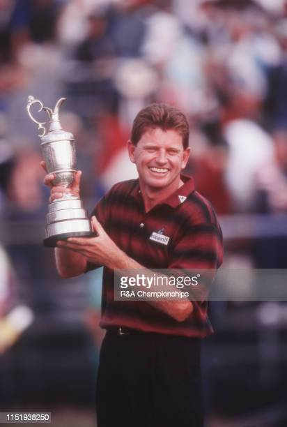 Nick Price of Zimbabwe poses with the Claret Jug following his victory during The 123rd Open Championship held on the Ailsa Course at Turnberry from...