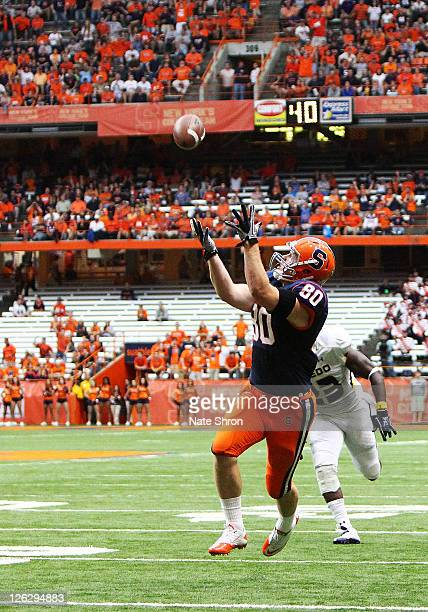 Nick Provo of the Syracuse Orange catches a TD in the game against the Toledo Rockets on September 24, 2011 at the Carrier Dome in Syracuse, New York.