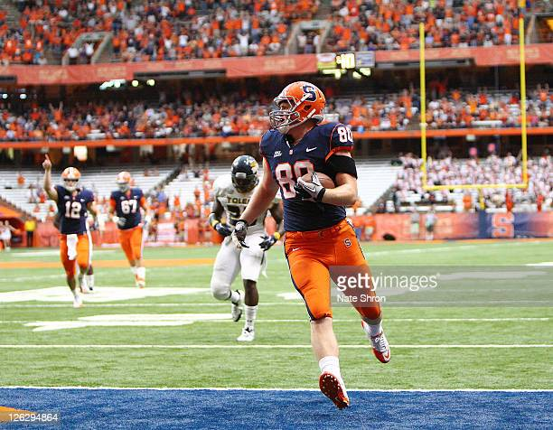 Nick Provo of the Syracuse Orange scores a TD in the game against the Toledo Rockets on September 24, 2011 at the Carrier Dome in Syracuse, New York.