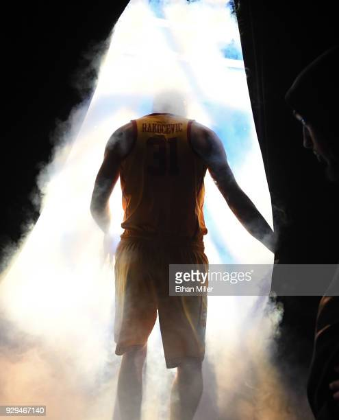 Nick Rakocevic of the USC Trojans is introduced before a quarterfinal game of the Pac12 basketball tournament against the Oregon State Beavers at...