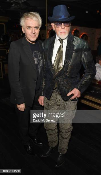 Nick Rhodes and Antony Price attend an after party celebrating the Pam Hogg catwalk show during London Fashion Week September 2018 at Kadie's on...