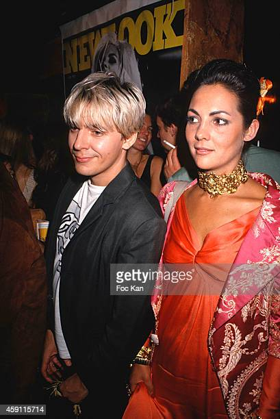 Nick Rhodes and Hermine de Clermont Tonnerre attend a New Look Party at Les Bains Douches in the 1990s in Paris France