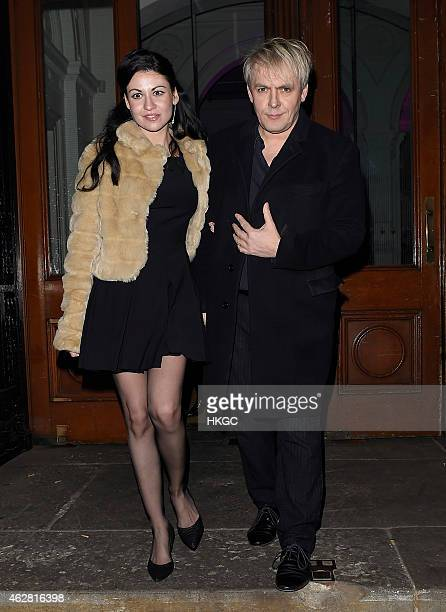 Nick Rhodes and Nefer Suvio attend a private view of 'A Strong Sweet Smell of Incense A Portrait of Robert Fraser' at the Pace Gallery on February 5...