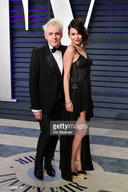 Nick Rhodes and Nefer Suvio attend the 2019 Vanity Fair Oscar Party hosted by Radhika Jones at Wallis Annenberg Center for the Performing Arts on...