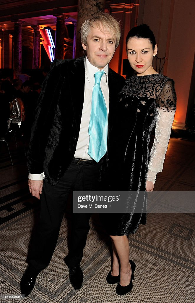 Nick Rhodes (L) and Nefer Suvio attend the dinner to celebrate The David Bowie Is exhibition in partnership with Gucci and Sennheiser at the Victoria and Albert Museum on March 19, 2013 in London, England.