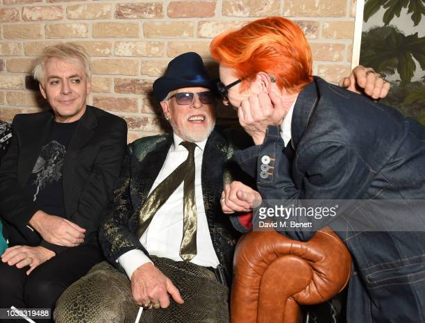 Nick Rhodes Antony Price and Sandy Powell attend an after party celebrating the Pam Hogg catwalk show during London Fashion Week September 2018 at...