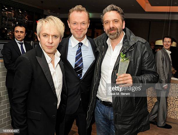 Nick Rhodes Gary Kemp and Ketih Tyson attend an after party celebrating Duran Duran keyboardist Nick Rhodes' exhibition 'BEI INCUBI Beautiful...