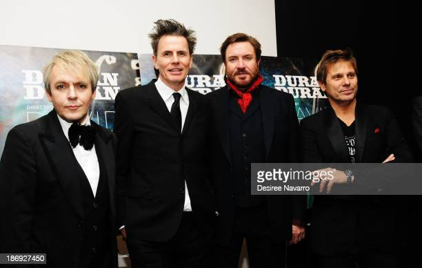 Nick Rhodes John Taylor Simon Le Bon and Roger Taylor of Duran Duran attend the 'Duran Duran Unstaged' premiere during the 6th Annual MoMA Contenders...