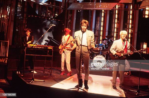 Nick Rhodes John Taylor Simon Le Bon Roger Taylor and Andy Taylor of Duran Duran performing 'Girls on Film' on the BBC television show Top of the...