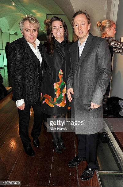 Nick Rhodes Kathryn Terry and Geordie Greig attend the private view of Isabella Blow Fashion Galore Party at Somerset House on November 19 2013 in...