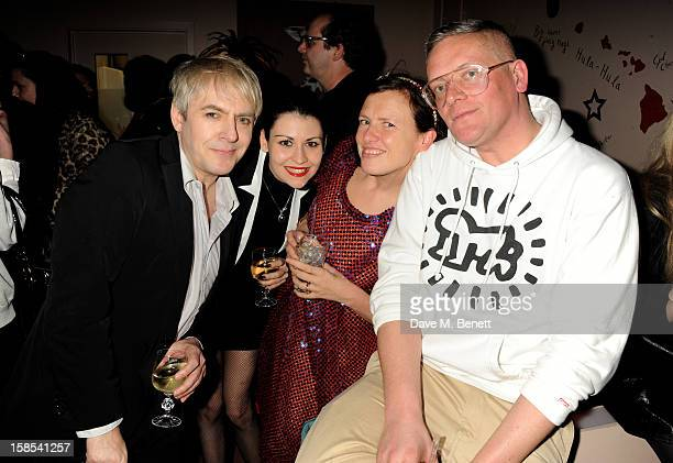 Nick Rhodes Nefer Suvio' Katie Grand and Giles Deacon attend the Katie Grand Olivier Rousteing LOVE Christmas Party hosted by Balmain at Shrimpy's on...