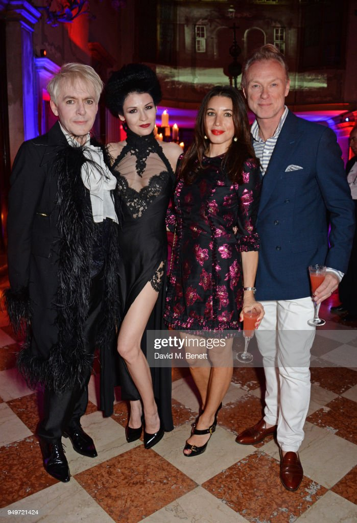 Nick Rhodes, Nefer Suvio, Lauren Kemp and Gary Kemp attend a party to celebrate Nefer Suvio's birthday hosted by The Count and Countess Francesco & Chiara Dona Dalle Rose at Palazzo Dona dalle Rose on April 20, 2018 in Venice, Italy.