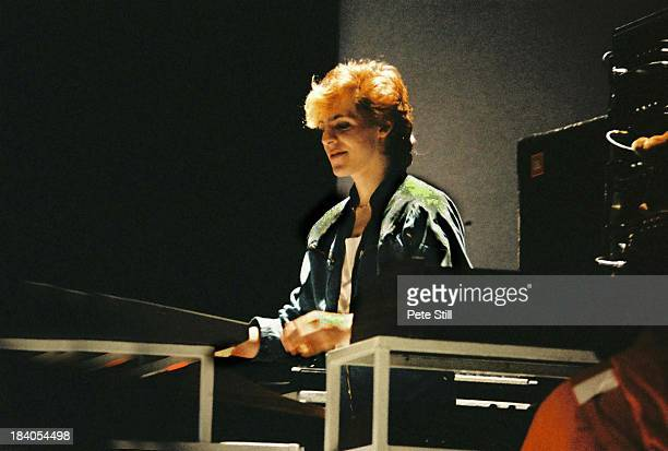 Nick Rhodes of Duran Duran performs on stage at Hammersmith Odeon on November 3rd 1982 in London England