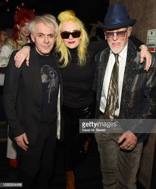 Nick Rhodes Pam Hogg and Antony Price attend an after party celebrating the Pam Hogg catwalk show during London Fashion Week September 2018 at...